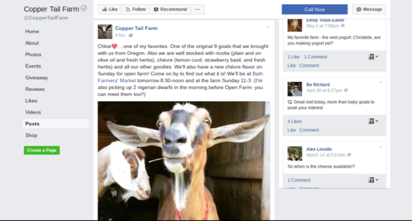 Copper Tail Farm uses their Facebook page to communicate with customers about what markets they will be attending and what products are available.