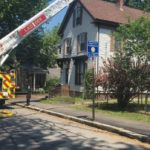 Crews in Portland battled a fire and the heat Monday on Sherwood Street. (WGME)