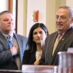 Senate President Michael Thibodeau (from left), Speaker of the House Sara Gideon and Gov. Paul LePage at the State House in Augusta, Dec. 19, 2016.