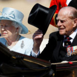 Britain's Queen Elizabeth and Prince Philip attend Trooping the Colour in London, Britain, June 17, 2017.