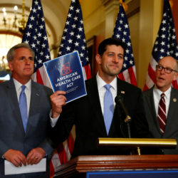 Left to right, U.S. House Majority Leader Kevin McCarthy, U.S. House Speaker Paul Ryan, and  U.S. Representative Greg Walden hold a news conference on the American Health Care Act on Capitol Hill in Washington, U.S. March 7, 2017.