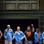 """Cast members of """"The Full Monty"""" rehearse at the Penobscot Theatre in Bangor. The show opened June 15 and runs until July 9."""