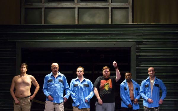 Cast members of &quotThe Full Monty&quot rehearse at the Penobscot Theatre in Bangor. The show opened June 15 and runs until July 9.