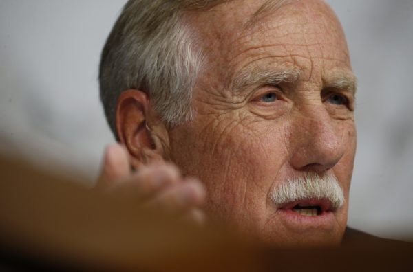 U.S. Senator Angus King (I-ME) asks questions at a Senate Intelligence Committee hearing on the Foreign Intelligence Surveillance Act (FISA) in Washington, U.S., June 7, 2017.