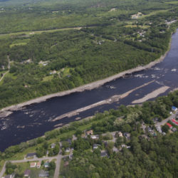 OLD TOWN -- Part of the old Great Works Dam site on the Penobscot River seen from an airplane on June 14, 2017, in Old Town. (Aislinn Sarnacki | BDN)