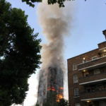 Flames and smoke billow from a tower block at Latimer Road in West London, Britain June 14, 2017 in this picture obtained from social media.