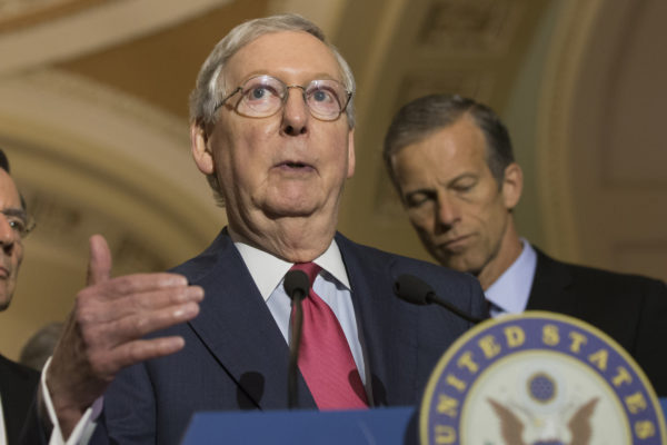 Senate Majority Leader Mitch McConnell is rushing a health insurance overhaul bill through the Senate.