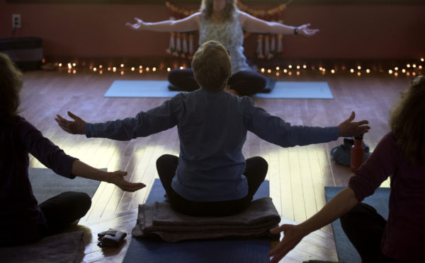 An Ayurveda Yoga class is led by Deborah Keene at her studio in Liberty.