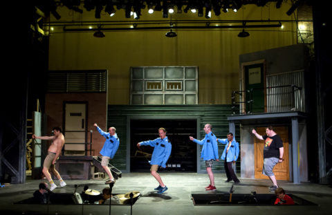Cast members of &quotThe Full Monty&quot rehearse at the Penobscot Theatre in Bangor. The show opens June 15 and runs until July 9.