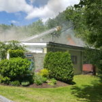 Fire departments respond to a blaze at the Penobscot Indian Nation finance building on Sarahs Spring Lane that was reported just before 11 a.m. on Wednesday June 14.