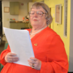Warden Susan Blagden reads the results of Wiscasset's annual town meeting by referendum on Tuesday.