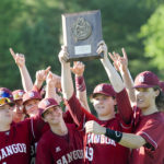 The Bangor High School baseball team celebrates its 3-0 win over Mt. Ararat in the Class A regional championship Wednesday in Augusta. The Rams face Falmouth Saturday at 2 p.m. in Augusta for the state championship.