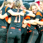 Members of the Skowhegan High School softball team gather for a group celebration after the Indians beat Oxford Hills of South Paris 5-4 in the Class A North championship game in Augusta on Wednesday.