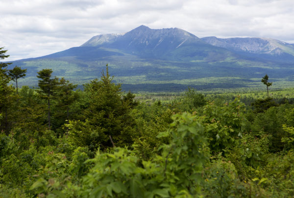 Mount Katahdin is seen from a scenic overlook in the Katahdin Woods and Waters National Monument in June.