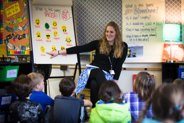 Longfellow Elementary School fourth grade teacher Sarah Rasmussen talks about what moods a poem can set with her class in Portland in a January photo.