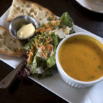 Lunch plate with soup, salad and baguette at the new 93 Main Cafe in Unity.