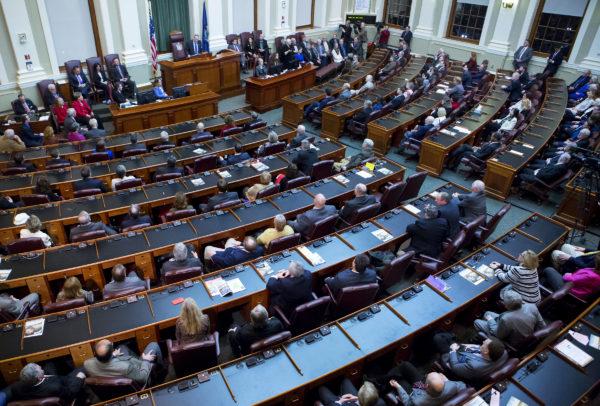 Gov. Paul LePage addresses the chamber during the 2017 State of the State address at the State House in Augusta on Feb. 7, 2017.