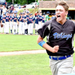 Searsport's Mitchell Philbrick runs to the team's cheering section after blasting a walkoff solo home run to lift his team to a 4-3 win over Bangor Christian in the Class D state baseball championship at St. Joseph's College in Standish on Saturday.