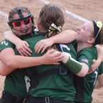 Penobscot Valley players celebrate after defeating Richmond, 4-0, in the State Class D softball title game at St. Joseph's College in Standish on Saturday.