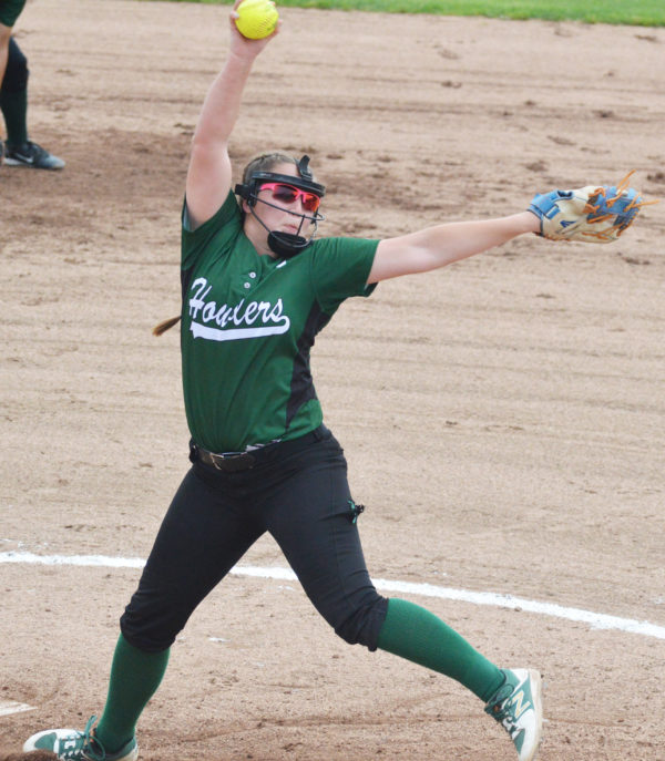 Penobscot Valley pitcher Leine McKechnie is about to deliver a pitch during Saturday's State Class D softball title game in Standish. McKechine fired a no-hitter and hit a three-run home run as the Howlers defeated Richmond, 4-0.