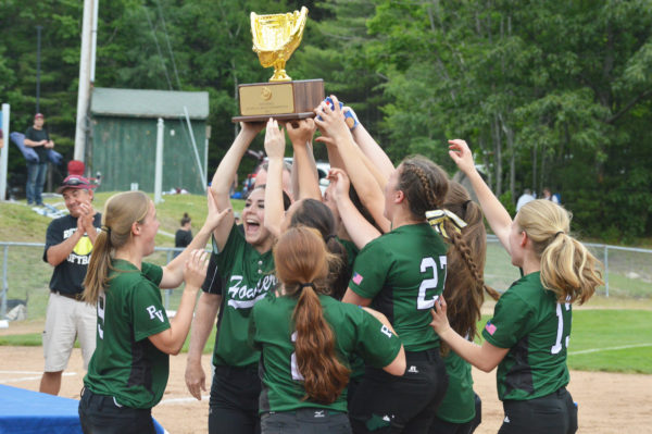 Penobscot Valley Howlers players celebrate after receiving the championship trophy on Saturday at Standish. The Howlers downed Richmond, 4-0, in the State Class D title game.