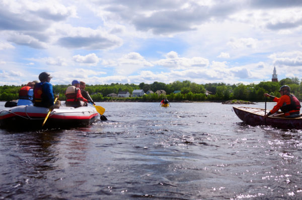 Boaters make their way down the river during a practice run Wednesday on the Penobscot river from Binette Park in Old Town to the Orono boat landing in preparation for the Penobscot River Whitewater Nationals Regatta.