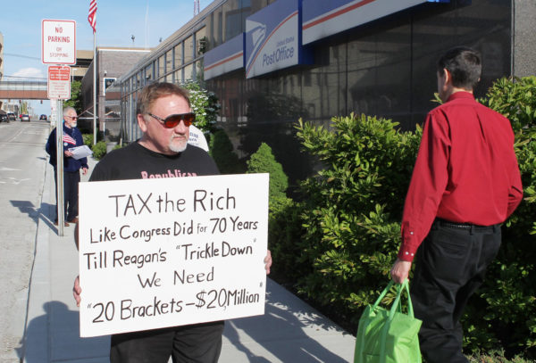This 2012 file photo shows James Hodgkinson of Belleville protesting outside the U.S. Post Office in downtown Belleville, Illinois.