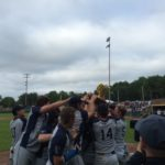 Yarmouth High School baseball players celebrate after winning the Class B state championship Saturday in Standish.
