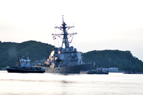 The Arleigh Burke-class guided-missile destroyer USS Fitzgerald returns to Fleet Activities (FLEACT) Yokosuka following a collision with a merchant vessel while operating southwest of Yokosuka, Japan in photo received June 17, 2017.