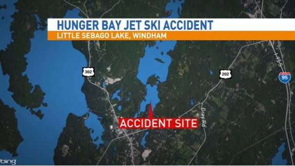 The location of a jet-ski crash on Little Sebago Lake which left three people hospitalized. (WGME image)