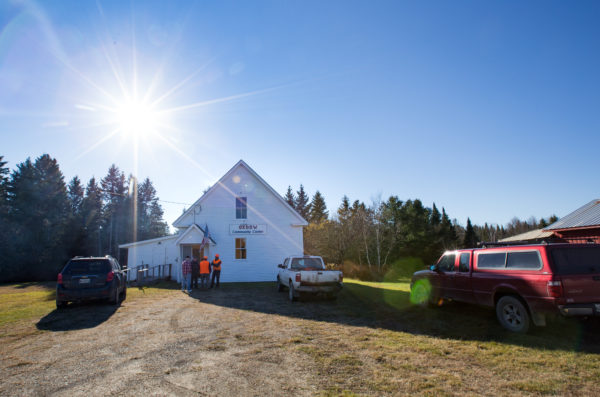 Residents of Oxbow, Maine in Aroostook County gather outside the community center — once the old one-room schoolhouse — on Tuesday morning to vote in a 2016 file photo.