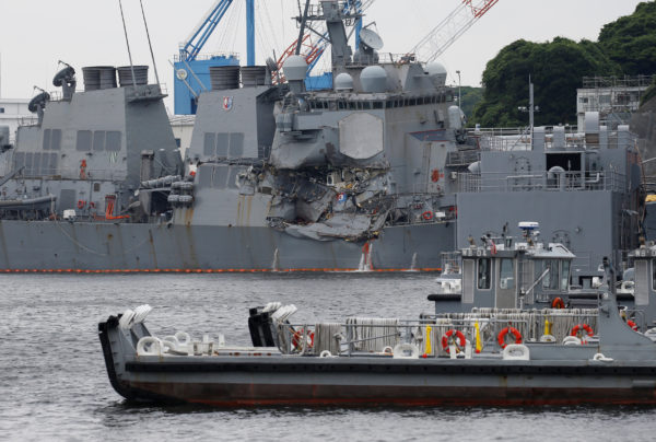 The Arleigh Burke-class guided-missile destroyer USS Fitzgerald, damaged by colliding with a Philippine-flagged merchant vessel, is seen at the U.S. naval base in Yokosuka, Japan on June 18, 2017.