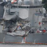 The Arleigh Burke-class guided-missile destroyer USS Fitzgerald, damaged by colliding with a Philippine-flagged merchant vessel, is seen at the U.S. naval base in Yokosuka, Japan, on June 18, 2017.