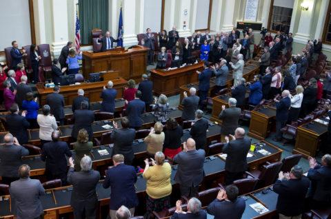 Gov. Paul LePage addresses the chamber during the 2017 State of the State address at the State House in Augusta.