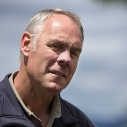 U.S. Secretary of the Interior Ryan Zinke listens to questions as part of a question and answer with media during a tour of the Katahdin Woods and Waters National Monument. The visit was the start of a four-day visit to New England.