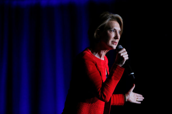 Carly Fiorina, former Republican vice presidential candidate and CEO of Hewlett-Packard, speaks at a campaign event in Indianapolis, Indiana, May 2, 2016. Fiorina earned a major in philosophy while at Stanford University, where she was interested in the roots of human understanding of knowledge, opting to read Plato and Aristotle in the original Greek.