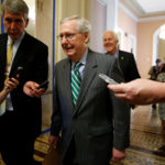 Senator Majority Leader Mitch McConnell walks to the Senate floor of the U.S. Capitol after unveiling a draft bill on health care in Washington, June 22, 2017.