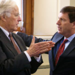 Rep. John Martin, D-Eagle Lake, (left) speaks with House Minority Leader Ken Fredette, R-Newport, at the State House in Augusta.