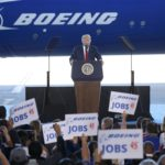 U.S. President Donald Trump speaks at the debut of the Boeing South Carolina Boeing 787-10 Dreamliner in North Charleston, South Carolina, U.S., Feb. 17, 2017.
