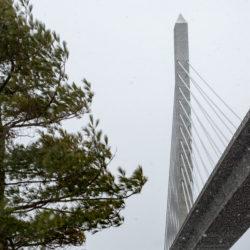 The Penobscot Narrows Bridge bridge, linking Verona Island and Prospect over the Penobscot River.