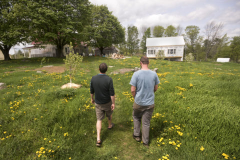 Greg King and his husband Kyffin Dolliver at their Morrill farm. The couple own and operate Morrill Century Farm, where they raise mixed vegetables, laying hens, pigs and cattle.  Dolliver works on the farm full time, but King works off the farm and is attending nursing school.