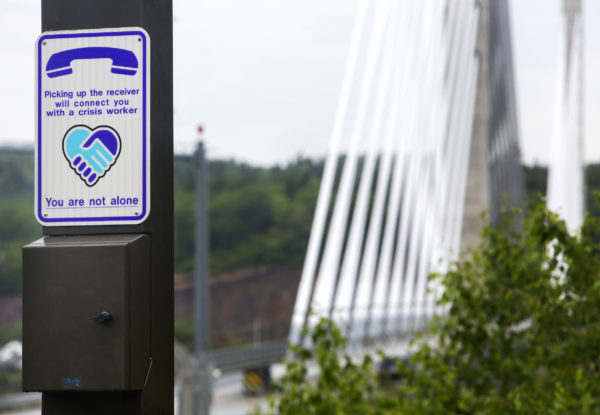 A crisis phone is seen on the Penobscot Narrows Bridge from Verona Island. The bridge connects Verona Island to Prospect.