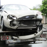 This 2007 Ford Taurus was heavily damaged Saturday afternoon in a collision with a Houlton ambulance at the intersection of North Street and Union Square, according to the Maine State Police.