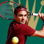 Roger Federer of Switzerland plays a shot.