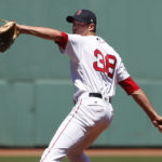 Boston Red Sox starting pitcher Doug Fister (38) delivers a pitch against the Los Angeles Angels during the first inning at Fenway Park.