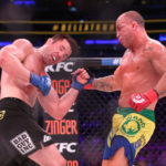 Wanderlei Silva (red gloves) fights Chael Sonnen (blue gloves) during Bellator NYC at Madison Square Garden.