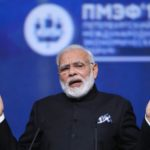 Indian Prime Minister Narendra Modi gestures during a session of the St. Petersburg International Economic Forum in Russia, June 2, 2017.