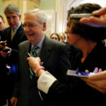 Senator Majority Leader Mitch McConnell is surrounded by reporters as he walks to the Senate floor of the U.S. Capitol after unveiling a draft bill on healthcare in Washington, U.S. June 22, 2017.