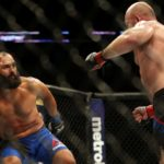 Tim Boetsch (right) fights Johny Hendricks on Saturday during UFC Fight Night at Chesapeake Energy Arena in Oklahoma City, Oklahoma. Boetsch won with a second-round TKO.