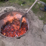 To make bean hole beans you need a deep bed of coals to set the pots of beans into.
